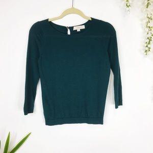 LOFT teal sweater 3/4 sleeves crew neck